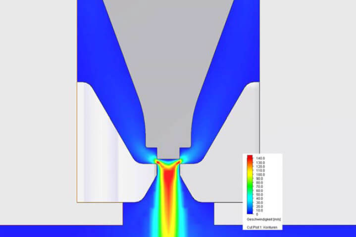 Flow simulation of an injector