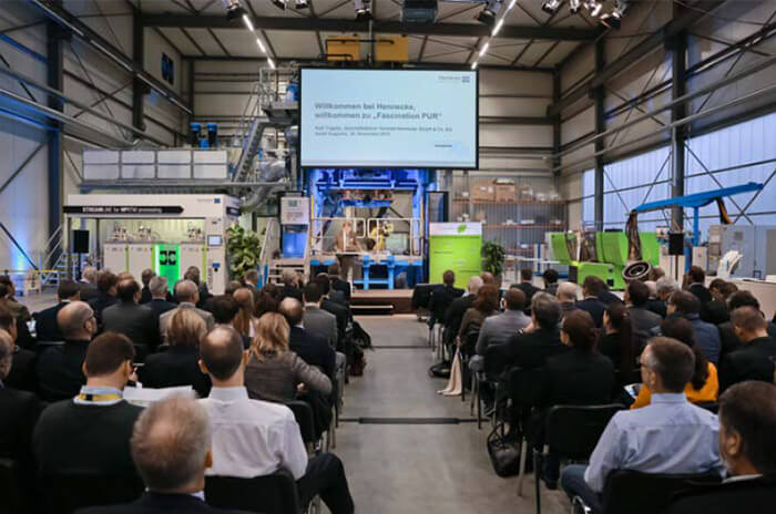 Rolf Trippler, Managing director of the Hennecke GmbH & Co.KG, at the opening of the lectures