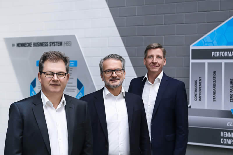 The management of the Hennecke GROUP – from left to right: Rolf Trippler (CSO), Thomas Wildt (CEO) and Christian Kleinjung (CFO)