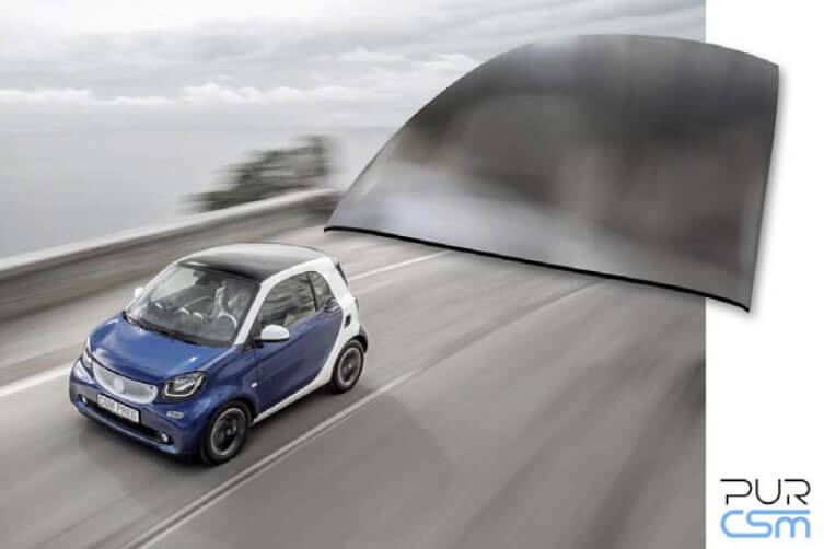 """Material mix of polyurethane, glass fibre and paper honeycomb: lightweight roof for the smart """"fortwo"""""""