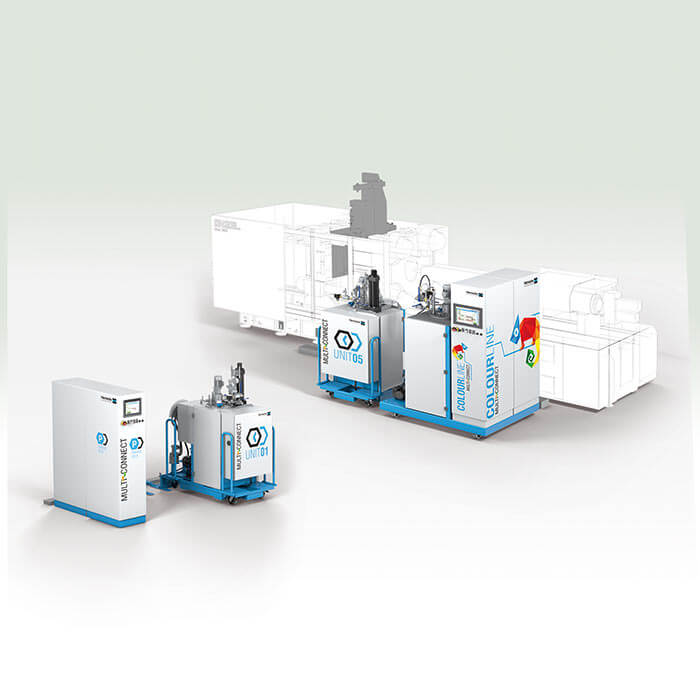 High-pressure metering machine with MULTI-CONNECT technology for fast and easy colour change for surface finishing